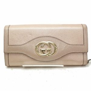💯 Authentic Gucci Long Wallet Gold Leather